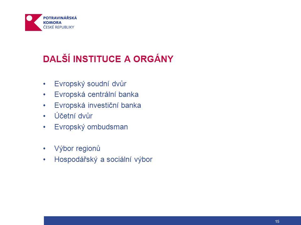 15 DALŠÍ INSTITUCE A ORGÁNY Evropský soudní dvůr Evropská centrální banka Evropská investiční banka Účetní dvůr Evropský ombudsman Výbor regionů Hospodářský a sociální výbor