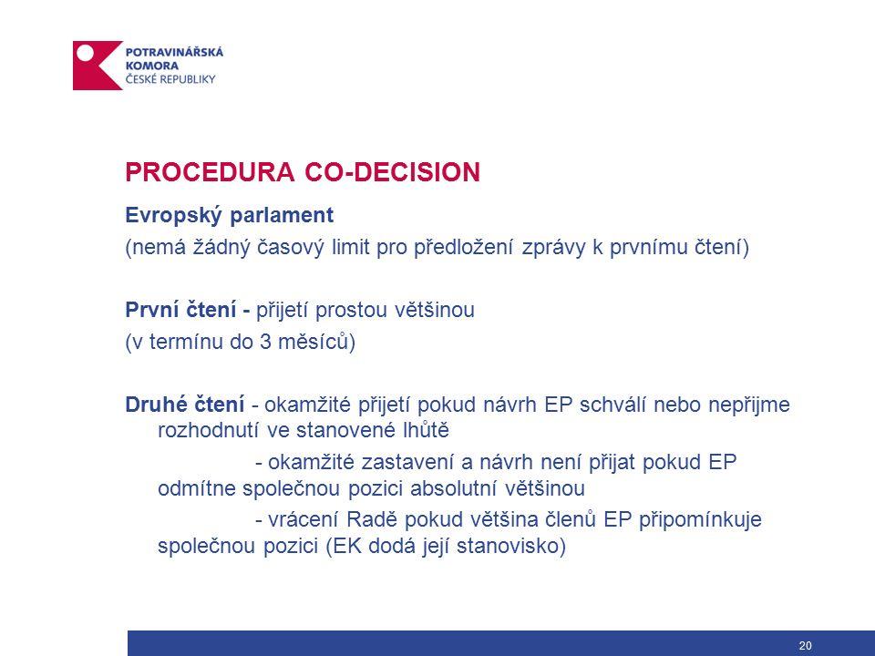 20 PROCEDURA CO-DECISION Evropský parlament (nemá žádný časový limit pro předložení zprávy k prvnímu čtení) První čtení - přijetí prostou většinou (v termínu do 3 měsíců) Druhé čtení - okamžité přijetí pokud návrh EP schválí nebo nepřijme rozhodnutí ve stanovené lhůtě - okamžité zastavení a návrh není přijat pokud EP odmítne společnou pozici absolutní většinou - vrácení Radě pokud většina členů EP připomínkuje společnou pozici (EK dodá její stanovisko)