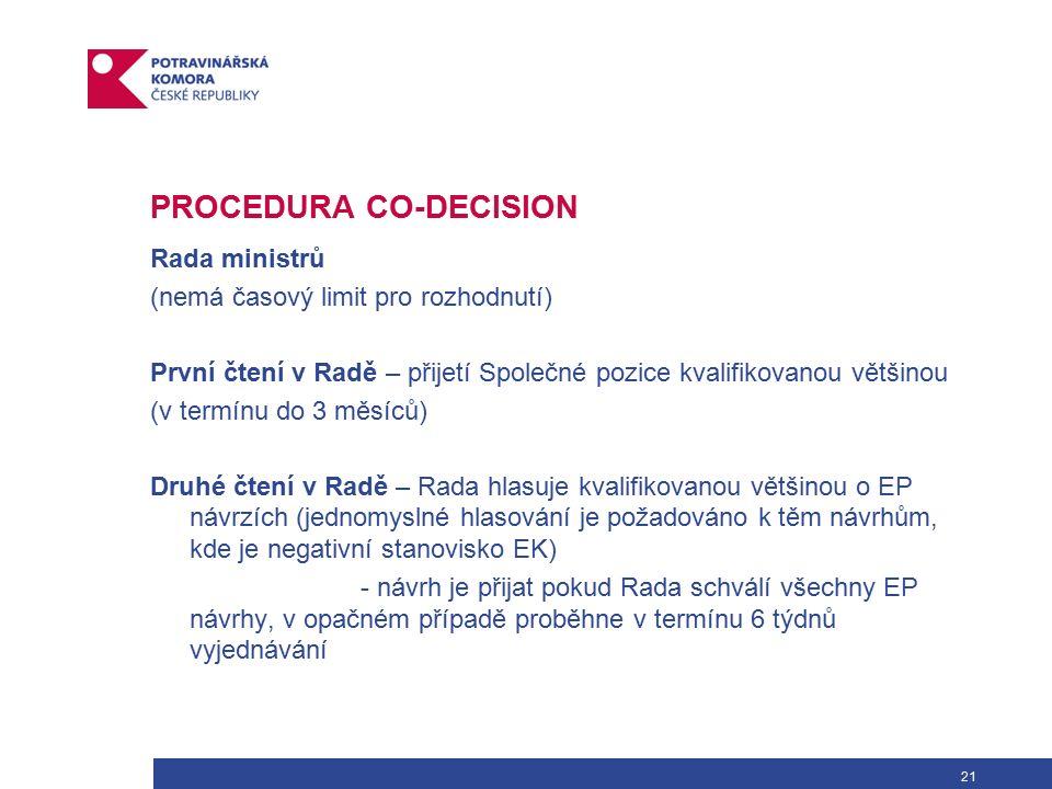 21 PROCEDURA CO-DECISION Rada ministrů (nemá časový limit pro rozhodnutí) První čtení v Radě – přijetí Společné pozice kvalifikovanou většinou (v termínu do 3 měsíců) Druhé čtení v Radě – Rada hlasuje kvalifikovanou většinou o EP návrzích (jednomyslné hlasování je požadováno k těm návrhům, kde je negativní stanovisko EK) - návrh je přijat pokud Rada schválí všechny EP návrhy, v opačném případě proběhne v termínu 6 týdnů vyjednávání