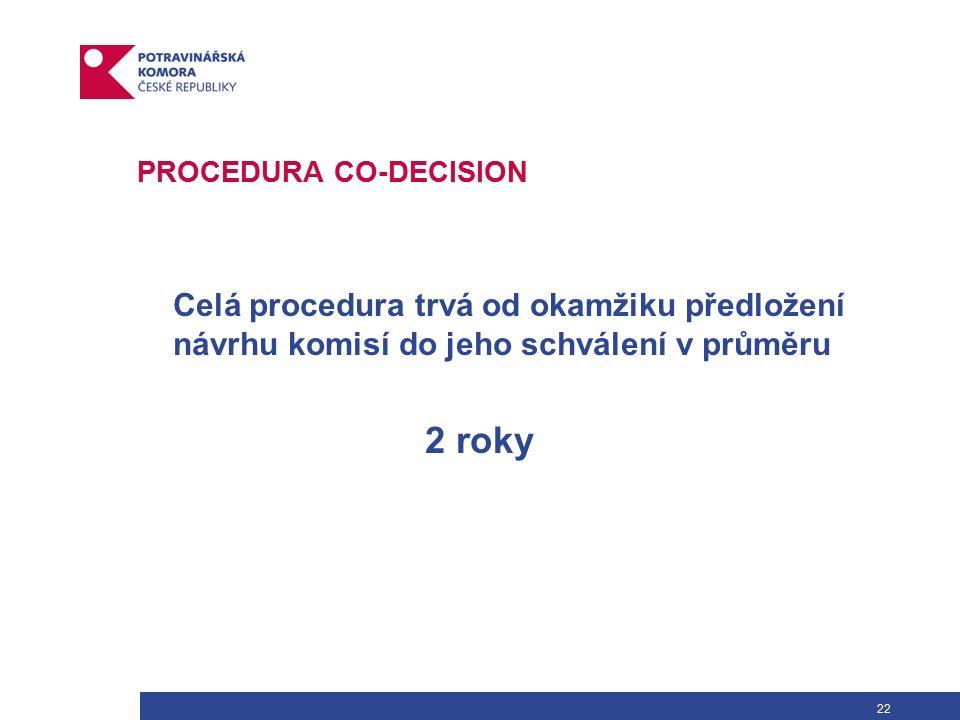 22 PROCEDURA CO-DECISION Celá procedura trvá od okamžiku předložení návrhu komisí do jeho schválení v průměru 2 roky