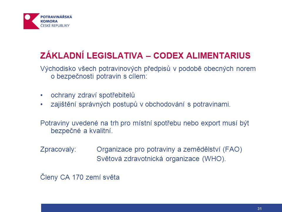 31 ZÁKLADNÍ LEGISLATIVA – CODEX ALIMENTARIUS Východisko všech potravinových předpisů v podobě obecných norem o bezpečnosti potravin s cílem: ochrany zdraví spotřebitelů zajištění správných postupů v obchodování s potravinami.