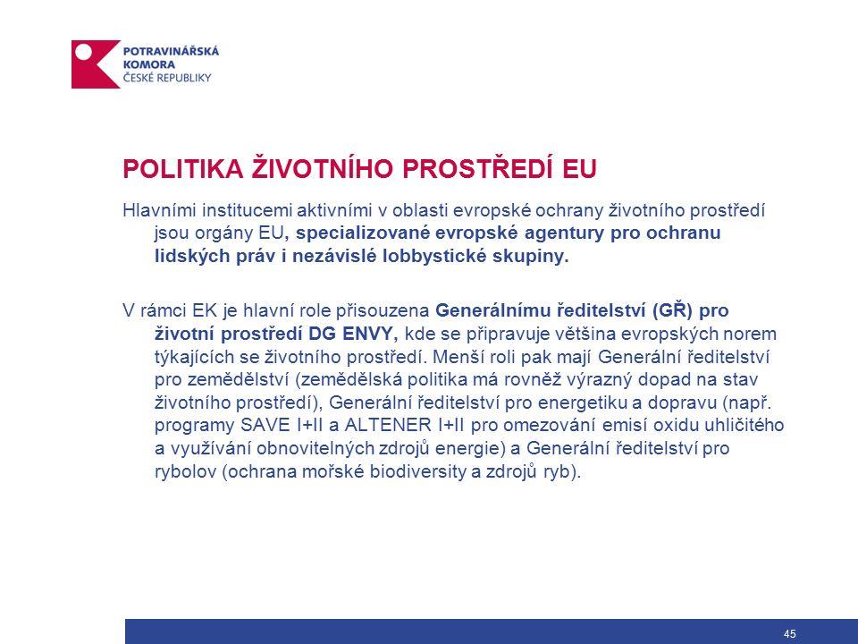 45 POLITIKA ŽIVOTNÍHO PROSTŘEDÍ EU Hlavními institucemi aktivními v oblasti evropské ochrany životního prostředí jsou orgány EU, specializované evropské agentury pro ochranu lidských práv i nezávislé lobbystické skupiny.