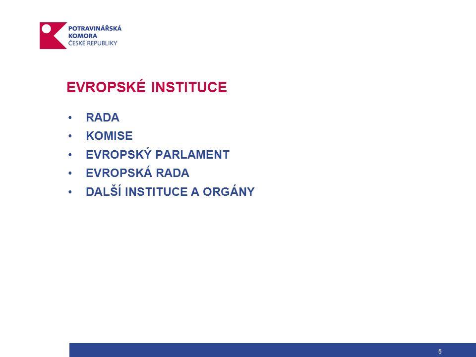 6 RADA Rada Evropské Unie se skládá z ministrů reprezentujících jednotlivé členské země a vykonává pravomoci dané jí Smlouvou.