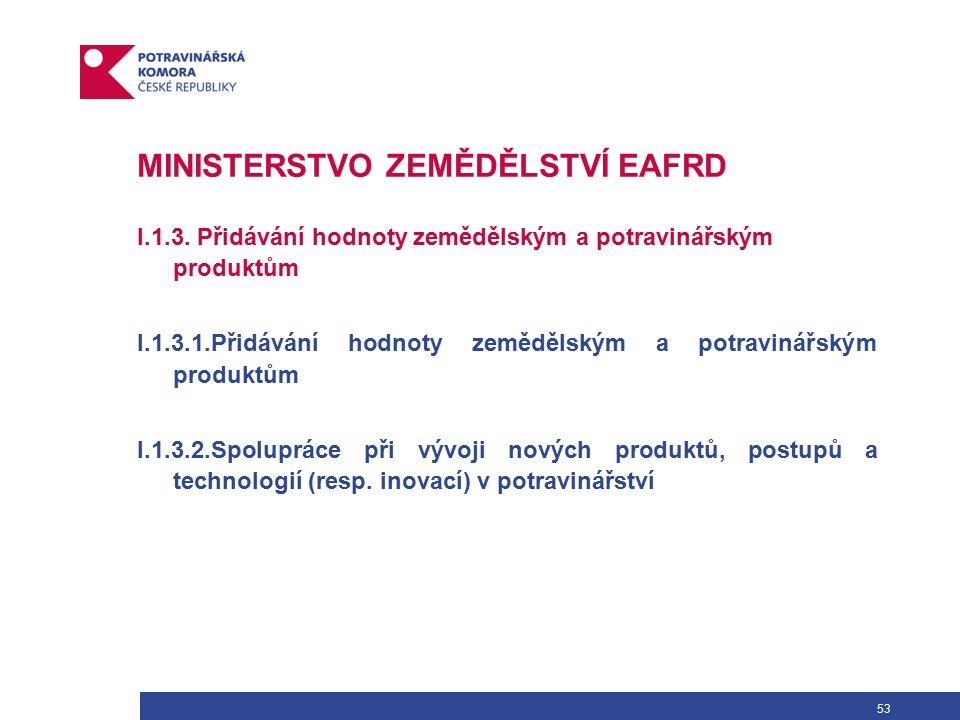 53 MINISTERSTVO ZEMĚDĚLSTVÍ EAFRD I.1.3.
