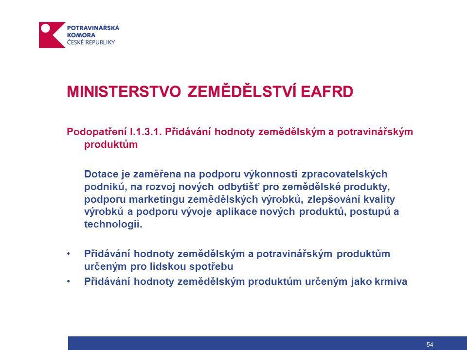 54 MINISTERSTVO ZEMĚDĚLSTVÍ EAFRD Podopatření I.1.3.1.