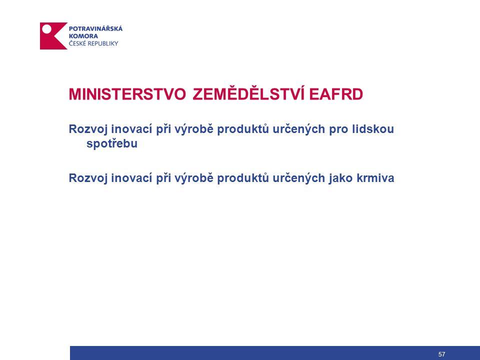 57 MINISTERSTVO ZEMĚDĚLSTVÍ EAFRD Rozvoj inovací při výrobě produktů určených pro lidskou spotřebu Rozvoj inovací při výrobě produktů určených jako krmiva