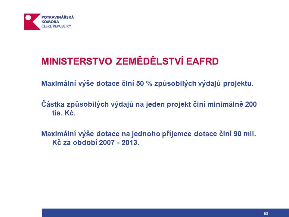 58 MINISTERSTVO ZEMĚDĚLSTVÍ EAFRD Maximální výše dotace činí 50 % způsobilých výdajů projektu.
