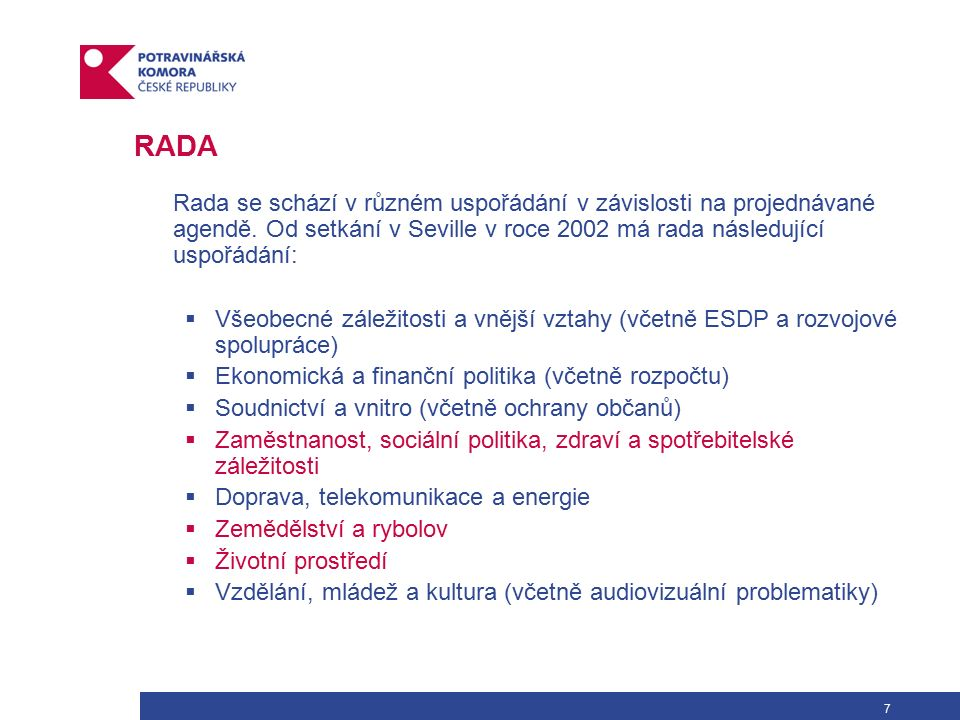 """28 ZÁKLADNÍ LEGISLATIVA – BÍLÁ KNIHA """"White Paper on Food Safety COM (1999) OBSAH Kapitola 1: Úvod Kapitola 2: Zásady zdravotní nezávadnosti potravin Kapitola 3: Zásadní prvky politiky zdravotní nezávadnosti potravin: sběr a analýza informací – poradenství na vědeckém základě Kapitola 4: Zřízení Evropského úřadu pro potraviny (EÚP) Kapitola 5: Aspekty právní regulace Kapitola 6: Kontroly Kapitola 7: Informace spotřebitelů Kapitola 8: Mezinárodní dimenze Kapitola 9: Závěry Příloha: Akční plán opatření směřujících ke zdravotní nezávadnosti potravin ….……."""