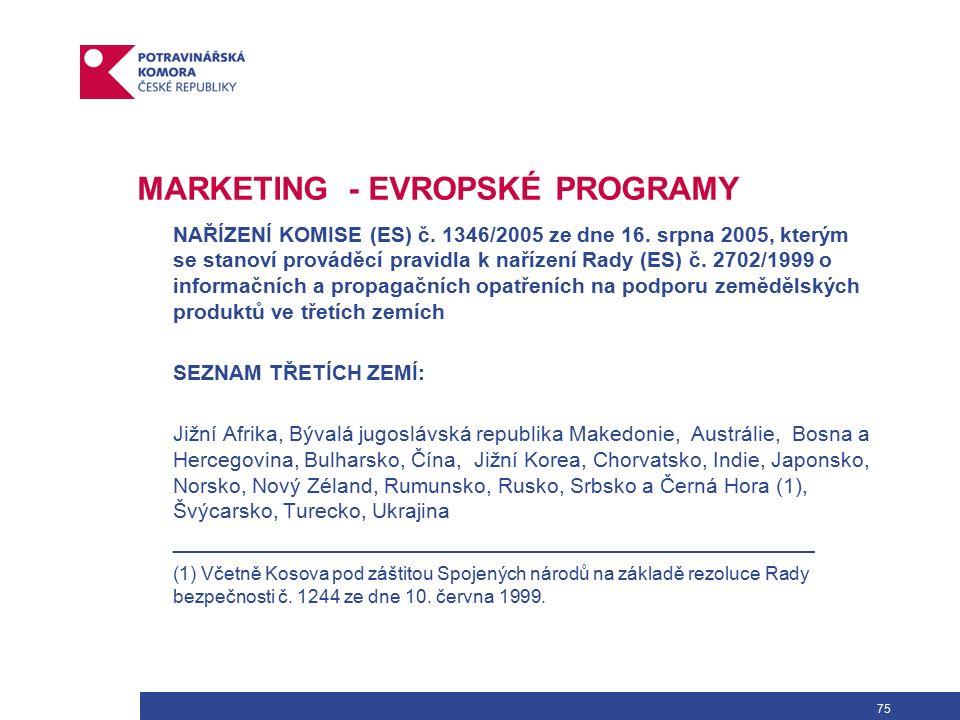 75 MARKETING - EVROPSKÉ PROGRAMY NAŘÍZENÍ KOMISE (ES) č.
