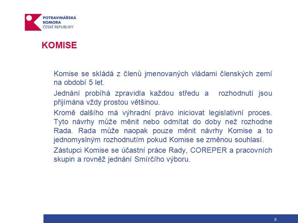 8 KOMISE Komise se skládá z členů jmenovaných vládami členských zemí na období 5 let.