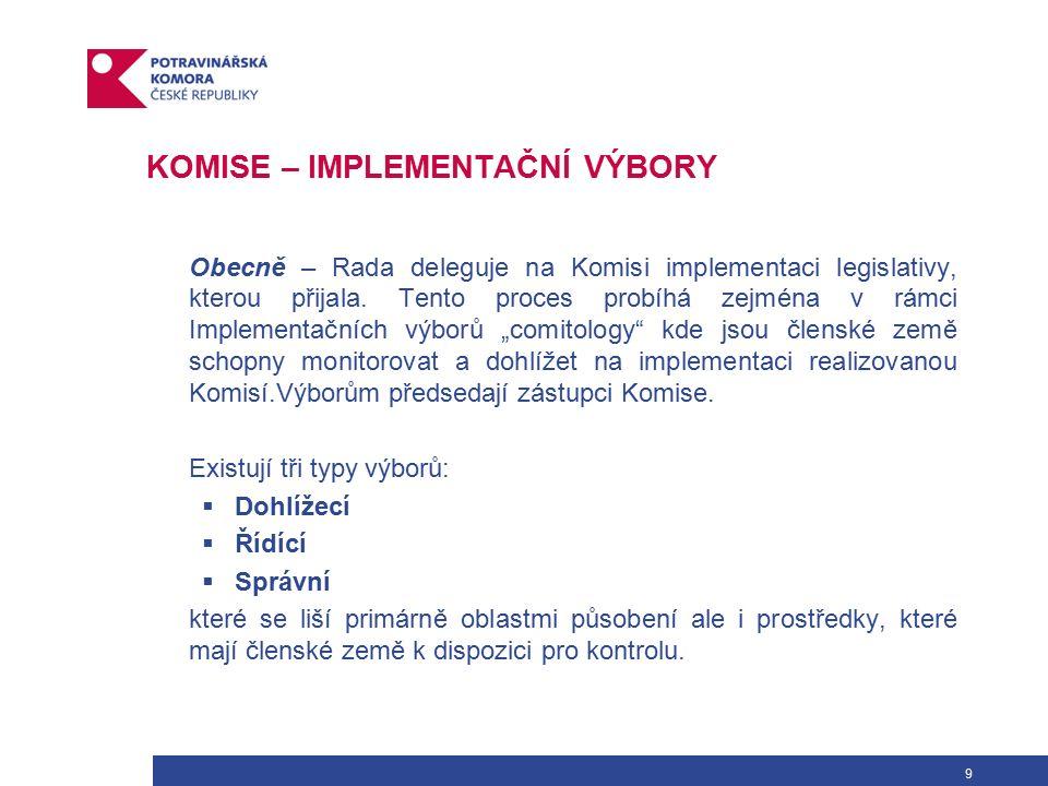 30 ZÁKLADNÍ LEGISLATIVA – HYGIENICKÝ BALÍČEK Realizace opatření uvedených v Bílé knize v zájmu docílení maximální zdravotní ochrany a zajištění zdravotní nezávadnosti (bezpečnosti) potravin byla promítnuta do souboru legislativních opatření vydaných formou nařízení EP a Rady (ES).