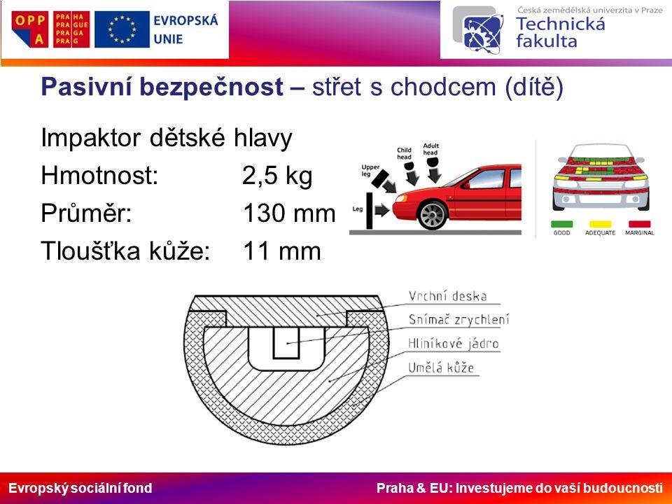 Evropský sociální fond Praha & EU: Investujeme do vaší budoucnosti Pasivní bezpečnost – střet s chodcem (dítě) Impaktor dětské hlavy Hmotnost:2,5 kg Průměr:130 mm Tloušťka kůže:11 mm