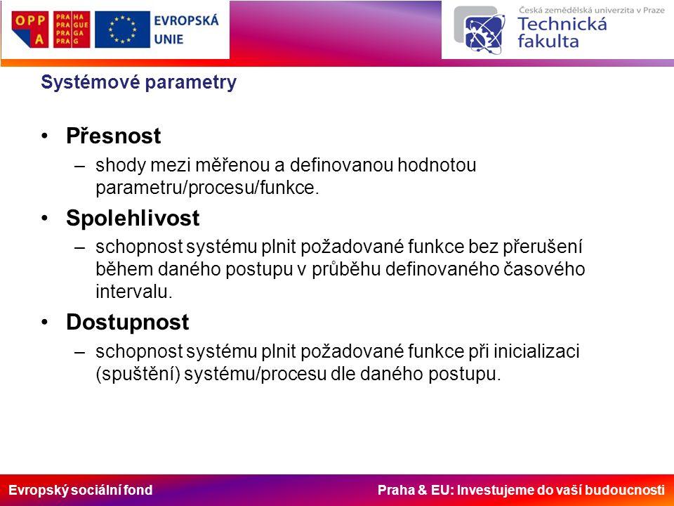 Evropský sociální fond Praha & EU: Investujeme do vaší budoucnosti Systémové parametry Přesnost –shody mezi měřenou a definovanou hodnotou parametru/procesu/funkce.
