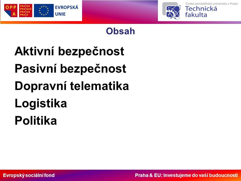 Evropský sociální fond Praha & EU: Investujeme do vaší budoucnosti Obsah Aktivní bezpečnost Pasivní bezpečnost Dopravní telematika Logistika Politika