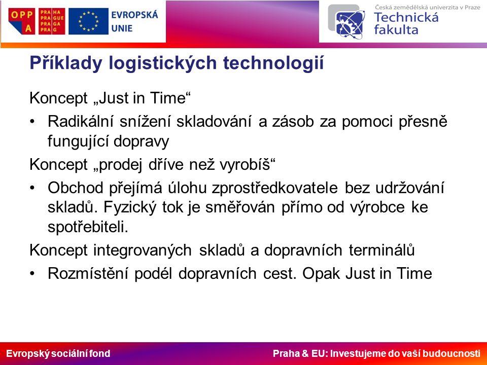 """Evropský sociální fond Praha & EU: Investujeme do vaší budoucnosti Příklady logistických technologií Koncept """"Just in Time Radikální snížení skladování a zásob za pomoci přesně fungující dopravy Koncept """"prodej dříve než vyrobíš Obchod přejímá úlohu zprostředkovatele bez udržování skladů."""
