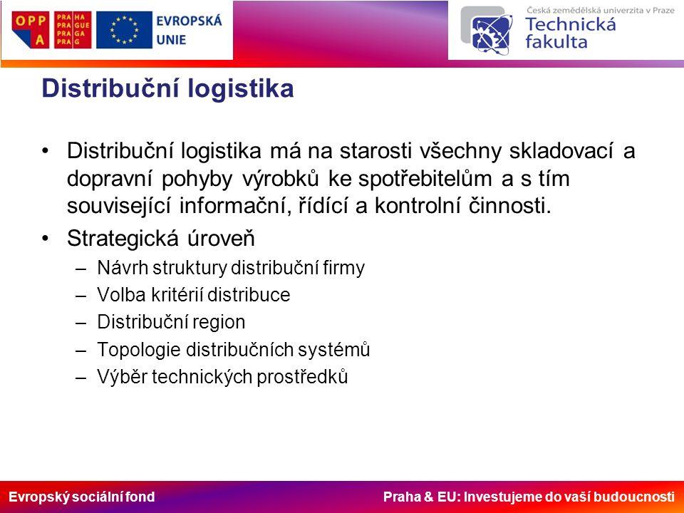 Evropský sociální fond Praha & EU: Investujeme do vaší budoucnosti Distribuční logistika Distribuční logistika má na starosti všechny skladovací a dopravní pohyby výrobků ke spotřebitelům a s tím související informační, řídící a kontrolní činnosti.