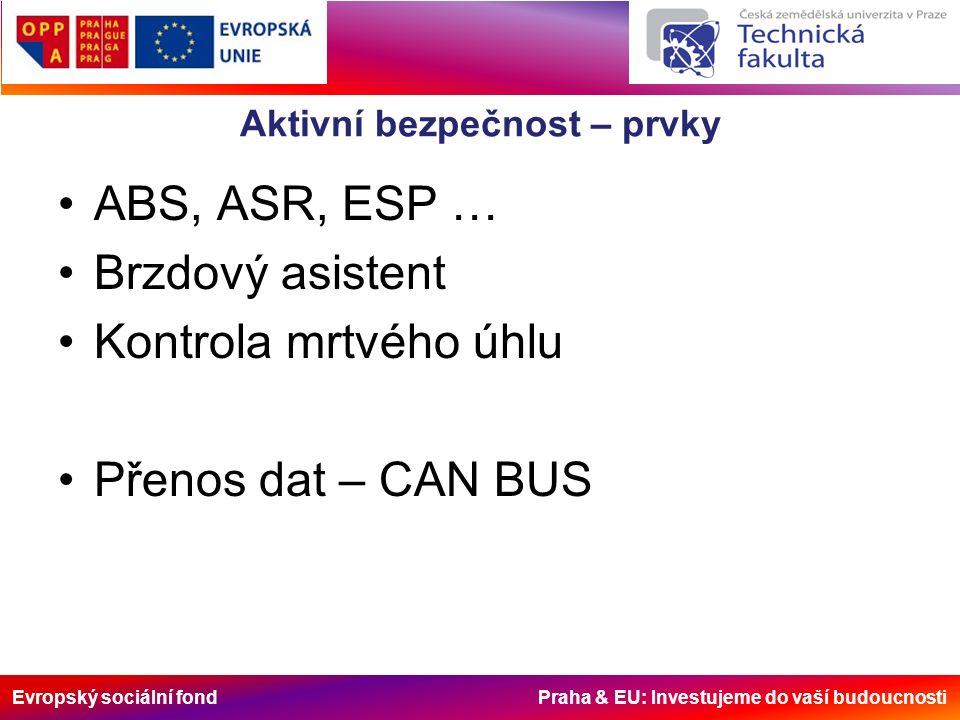 Evropský sociální fond Praha & EU: Investujeme do vaší budoucnosti Aktivní bezpečnost – CAN BUS Vrstvy: –Aplikační –Linková –Fyzická Rámce: –Datový blok –Požadavkový blok –Chybový blok –Zpožďovací blok