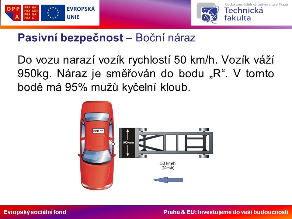 Evropský sociální fond Praha & EU: Investujeme do vaší budoucnosti Pasivní bezpečnost – Boční náraz na sloupek Při tomto testu je vozidlo umístěno na pohyblivé plošině.