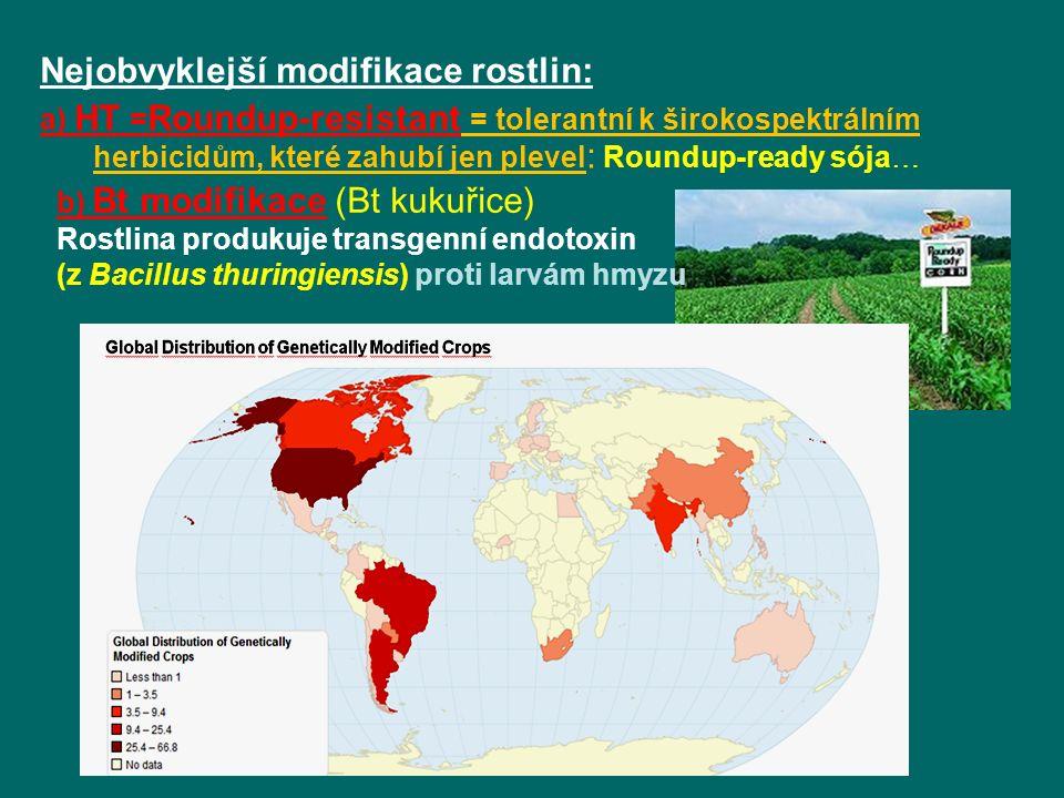 Nejobvyklejší modifikace rostlin: a) HT = Roundup-resistant = tolerantní k širokospektrálním herbicidům, které zahubí jen plevel : Roundup-ready sója… b) Bt modifikace (Bt kukuřice) Rostlina produkuje transgenní endotoxin (z Bacillus thuringiensis) proti larvám hmyzu