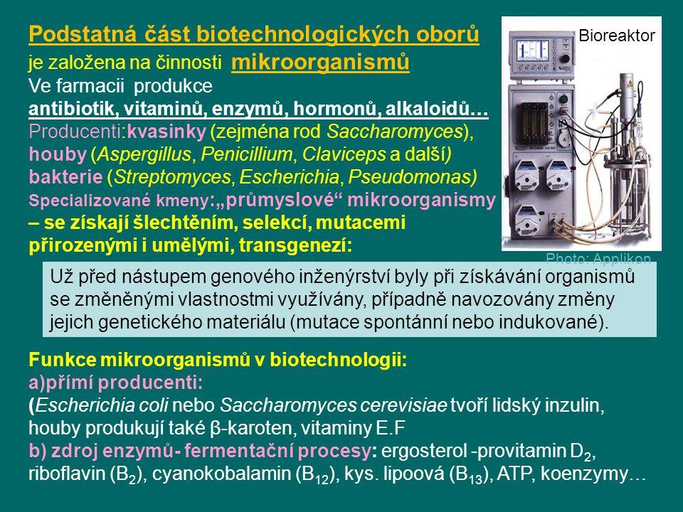 """Podstatná část biotechnologických oborů je založena na činnosti mikroorganismů Ve farmacii produkce antibiotik, vitaminů, enzymů, hormonů, alkaloidů… Producenti:kvasinky (zejména rod Saccharomyces), houby (Aspergillus, Penicillium, Claviceps a další) bakterie (Streptomyces, Escherichia, Pseudomonas) Specializované kmeny :""""průmyslové mikroorganismy – se získají šlechtěním, selekcí, mutacemi přirozenými i umělými, transgenezí: Funkce mikroorganismů v biotechnologii: a)přímí producenti: (Escherichia coli nebo Saccharomyces cerevisiae tvoří lidský inzulin, houby produkují také β-karoten, vitaminy E.F b) zdroj enzymů- fermentační procesy: ergosterol -provitamin D 2, riboflavin (B 2 ), cyanokobalamin (B 12 ), kys."""