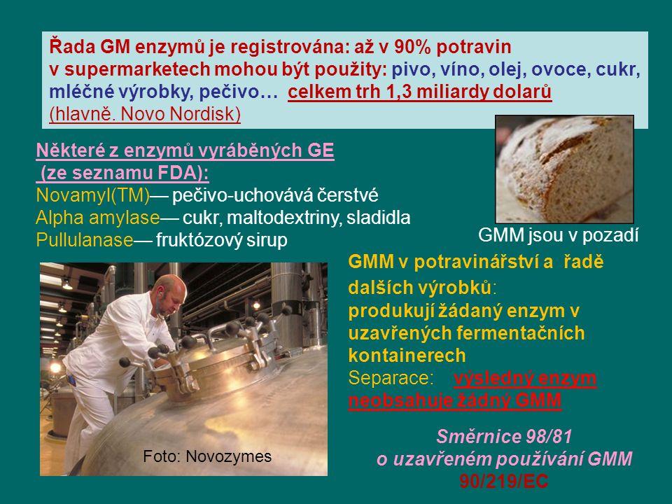 Některé z enzymů vyráběných GE (ze seznamu FDA): Novamyl(TM)— pečivo-uchovává čerstvé Alpha amylase— cukr, maltodextriny, sladidla Pullulanase— fruktózový sirup Řada GM enzymů je registrována: až v 90% potravin v supermarketech mohou být použity: pivo, víno, olej, ovoce, cukr, mléčné výrobky, pečivo… celkem trh 1,3 miliardy dolarů (hlavně.
