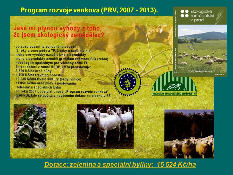 Dotace: zelenina a speciální byliny: 15 524 Kč/ha Program rozvoje venkova (PRV, 2007 - 2013).