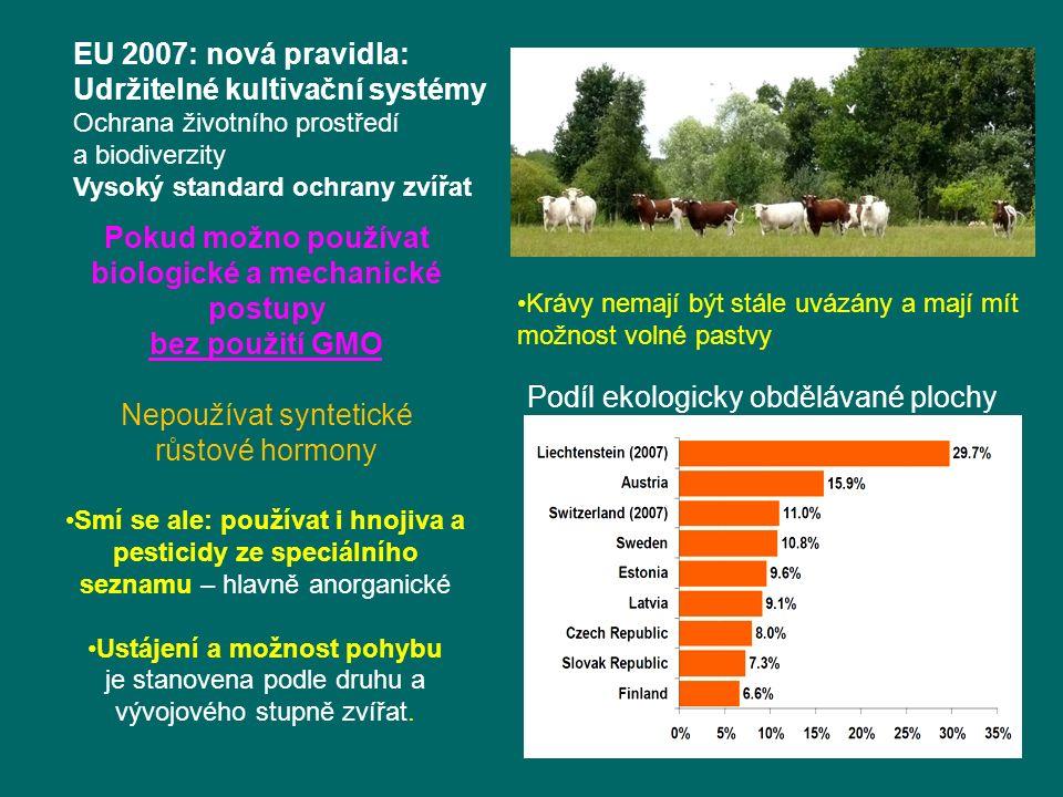 Krávy nemají být stále uvázány a mají mít možnost volné pastvy EU 2007: nová pravidla: Udržitelné kultivační systémy Ochrana životního prostředí a biodiverzity Vysoký standard ochrany zvířat Smí se ale: používat i hnojiva a pesticidy ze speciálního seznamu – hlavně anorganické Ustájení a možnost pohybu je stanovena podle druhu a vývojového stupně zvířat.