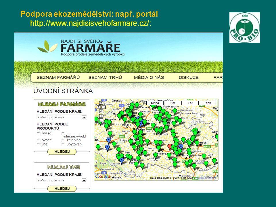 Podpora ekozemědělství: např. portál http://www.najdisisvehofarmare.cz/: