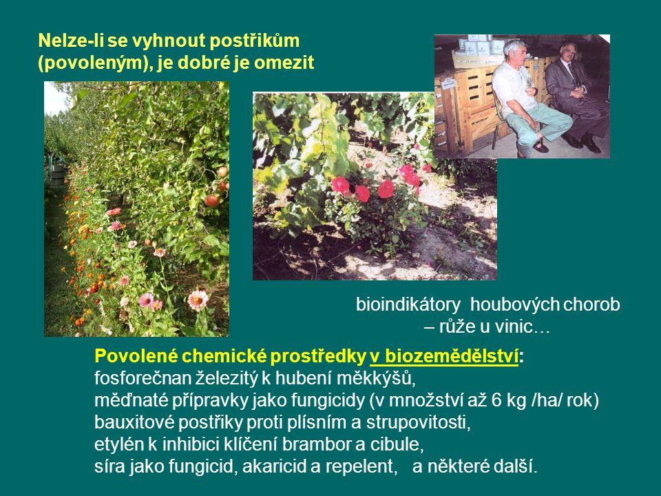 Nelze-li se vyhnout postřikům (povoleným), je dobré je omezit bioindikátory houbových chorob – růže u vinic… Povolené chemické prostředky v biozemědělství: fosforečnan železitý k hubení měkkýšů, měďnaté přípravky jako fungicidy (v množství až 6 kg /ha/ rok) bauxitové postřiky proti plísním a strupovitosti, etylén k inhibici klíčení brambor a cibule, síra jako fungicid, akaricid a repelent, a některé další.