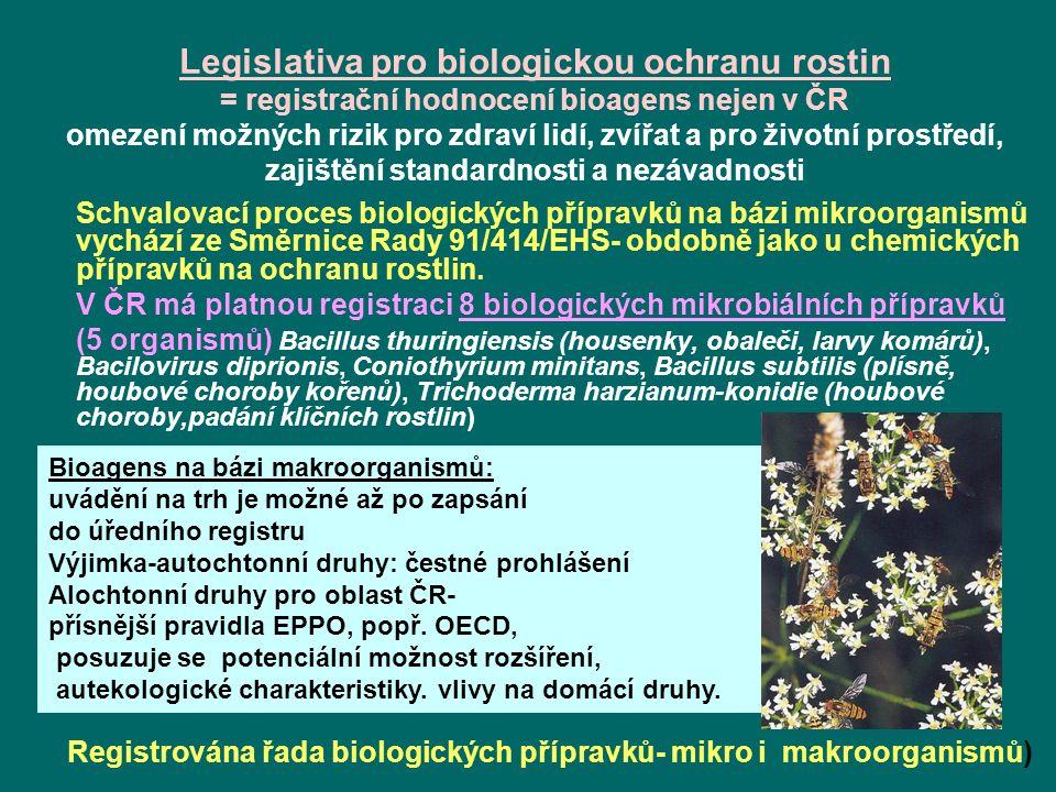 Legislativa pro biologickou ochranu rostin = registrační hodnocení bioagens nejen v ČR omezení možných rizik pro zdraví lidí, zvířat a pro životní prostředí, zajištění standardnosti a nezávadnosti Schvalovací proces biologických přípravků na bázi mikroorganismů vychází ze Směrnice Rady 91/414/EHS- obdobně jako u chemických přípravků na ochranu rostlin.