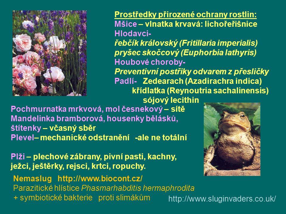 Prostředky přirozené ochrany rostlin: Mšice – vlnatka krvavá: lichořeřišnice Hlodavci- řebčík královský (Fritillaria imperialis) pryšec skočcový (Euphorbia lathyris) Houbové choroby- Preventivní postřiky odvarem z přesličky Padlí-Zedearach (Azadirachra indica) křídlatka (Reynoutria sachalinensis) sójový lecithin Pochmurnatka mrkvová, mol česnekový – sítě Mandelinka bramborová, housenky bělásků, štítenky – včasný sběr Plevel– mechanické odstranění -ale ne totální Plži – plechové zábrany, pivní pasti, kachny, ježci, ještěrky, rejsci, krtci, ropuchy.