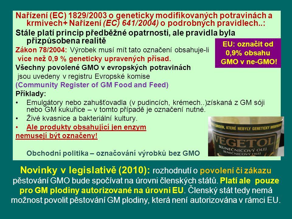 Nařízení (EC) 1829/2003 o geneticky modifikovaných potravinách a krmivech+ Nařízení (EC) 641/2004) o podrobných pravidlech..: Stále platí princip předběžné opatrnosti, ale pravidla byla přizpůsobena realitě Zákon 78/2004: Výrobek musí mít tato označení obsahuje-li více než 0,9 % geneticky upravených přísad.
