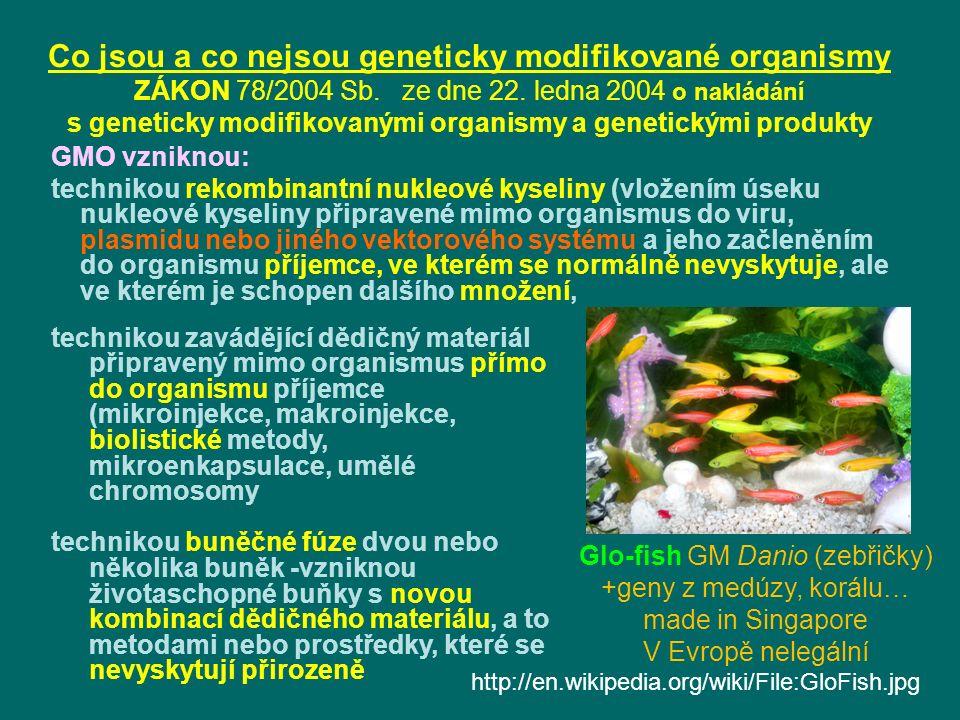 Co jsou a co nejsou geneticky modifikované organismy ZÁKON 78/2004 Sb.