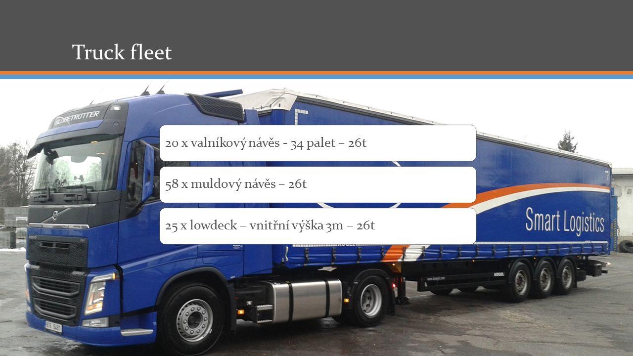 Truck fleet 20 x valníkový návěs - 34 palet – 26t58 x muldový návěs – 26t25 x lowdeck – vnitřní výška 3m – 26t