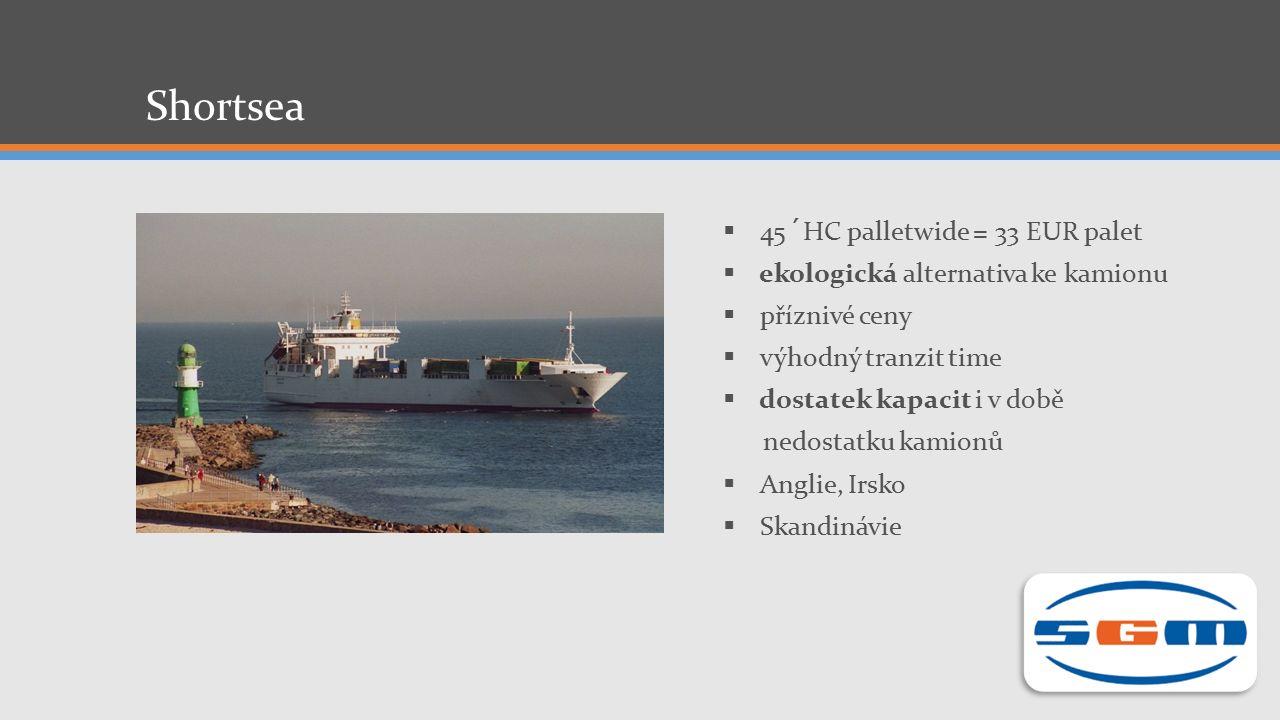 Shortsea  45´HC palletwide = 33 EUR palet  ekologická alternativa ke kamionu  příznivé ceny  výhodný tranzit time  dostatek kapacit i v době nedostatku kamionů  Anglie, Irsko  Skandinávie