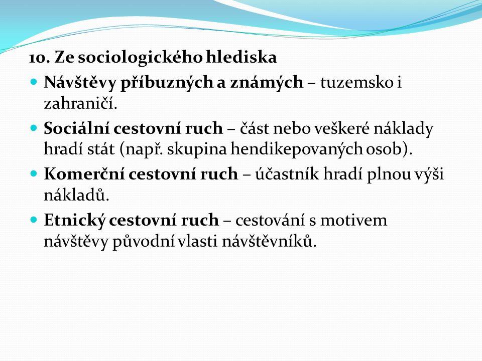 10. Ze sociologického hlediska Návštěvy příbuzných a známých – tuzemsko i zahraničí.