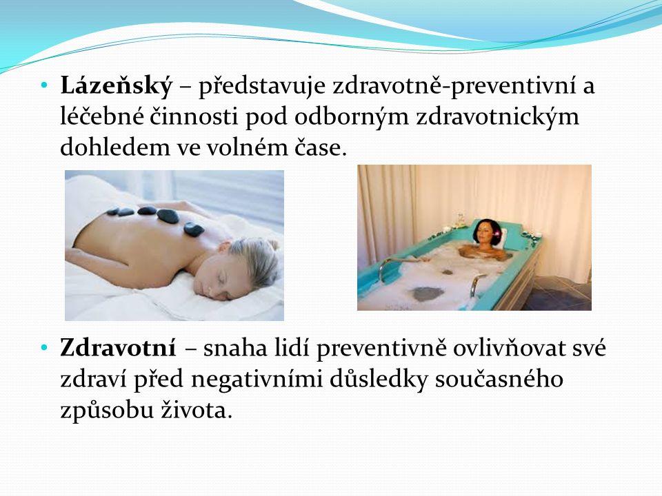 Lázeňský – představuje zdravotně-preventivní a léčebné činnosti pod odborným zdravotnickým dohledem ve volném čase.