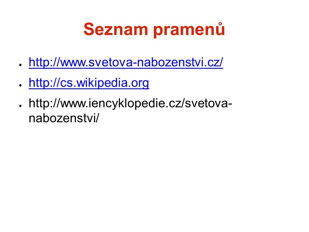 Seznam pramenů ● http://www.svetova-nabozenstvi.cz/ http://www.svetova-nabozenstvi.cz/ ● http://cs.wikipedia.org http://cs.wikipedia.org ● http://www.iencyklopedie.cz/svetova- nabozenstvi/
