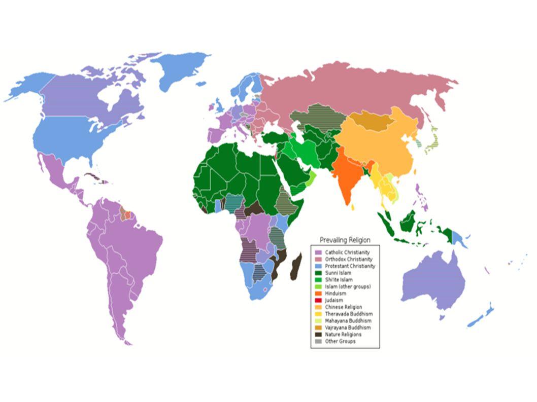 Hlavní náboženství podle počtu věřících ● Křesťanství......................2.100 mil.