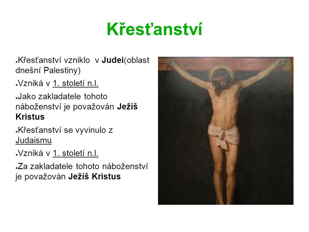 Křesťanství ● Křesťanství vzniklo v Judei(oblast dnešní Palestiny) ● Vzniká v 1.