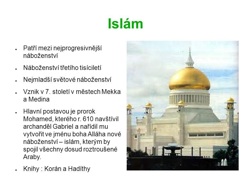 Islám ● Patří mezi nejprogresivnější náboženství ● Náboženství třetího tisíciletí ● Nejmladší světové náboženství ● Vznik v 7.
