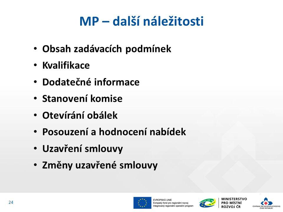 Obsah zadávacích podmínek Kvalifikace Dodatečné informace Stanovení komise Otevírání obálek Posouzení a hodnocení nabídek Uzavření smlouvy Změny uzavřené smlouvy MP – další náležitosti 24