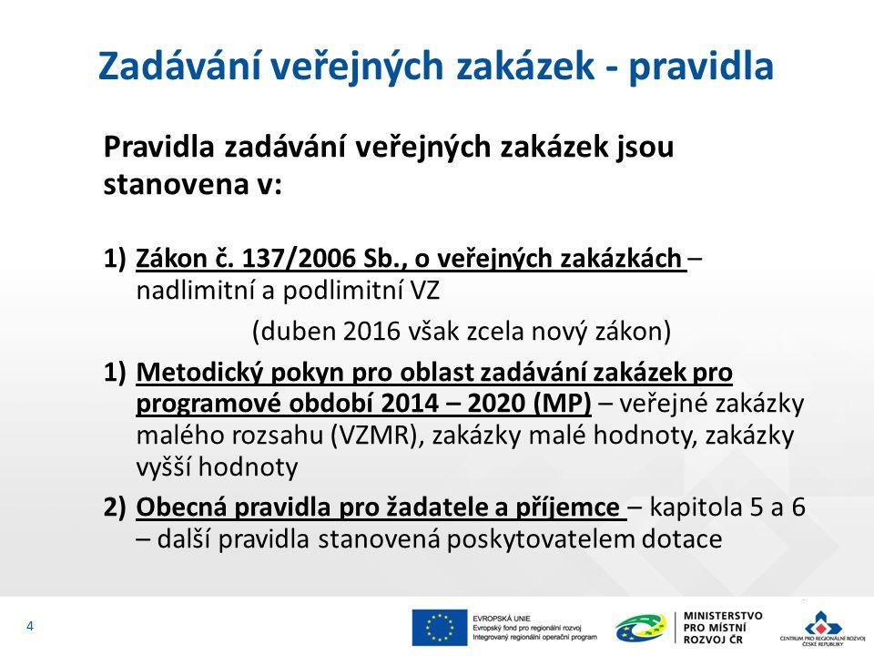 Pravidla zadávání veřejných zakázek jsou stanovena v: 1)Zákon č. 137/2006 Sb., o veřejných zakázkách – nadlimitní a podlimitní VZ (duben 2016 však zce