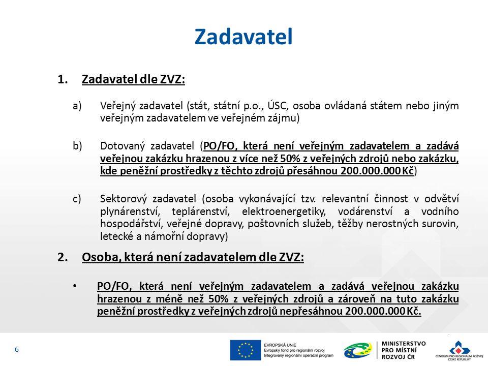 1.Zadavatel dle ZVZ: a)Veřejný zadavatel (stát, státní p.o., ÚSC, osoba ovládaná státem nebo jiným veřejným zadavatelem ve veřejném zájmu) b)Dotovaný