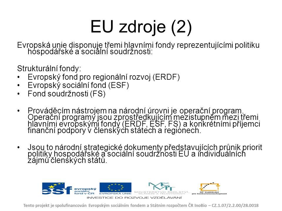 EU zdroje (2) Evropská unie disponuje třemi hlavními fondy reprezentujícími politiku hospodářské a sociální soudržnosti: Strukturální fondy: Evropský fond pro regionální rozvoj (ERDF) Evropský sociální fond (ESF) Fond soudržnosti (FS) Prováděcím nástrojem na národní úrovni je operační program.