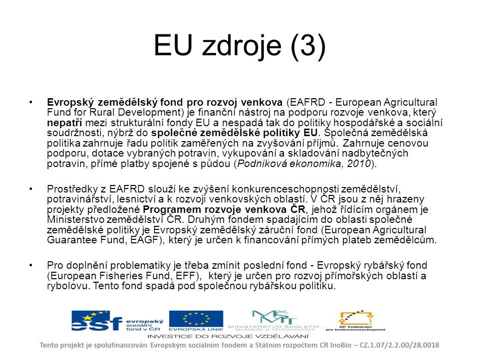EU zdroje (3) Evropský zemědělský fond pro rozvoj venkova (EAFRD - European Agricultural Fund for Rural Development) je finanční nástroj na podporu rozvoje venkova, který nepatří mezi strukturální fondy EU a nespadá tak do politiky hospodářské a sociální soudržnosti, nýbrž do společné zemědělské politiky EU.