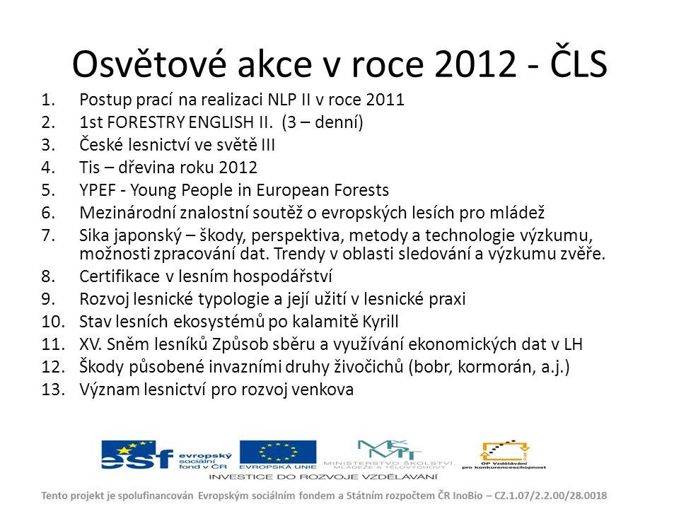 Osvětové akce v roce 2012 - ČLS 1.Postup prací na realizaci NLP II v roce 2011 2.1st FORESTRY ENGLISH II.