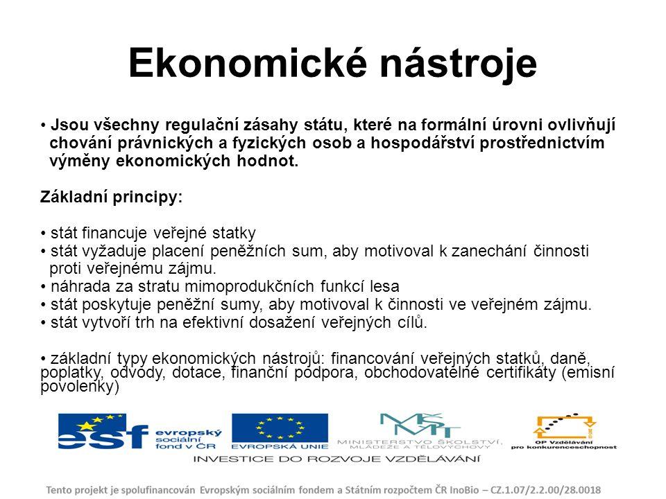 Ekonomické nástroje Jsou všechny regulační zásahy státu, které na formální úrovni ovlivňují chování právnických a fyzických osob a hospodářství prostřednictvím výměny ekonomických hodnot.