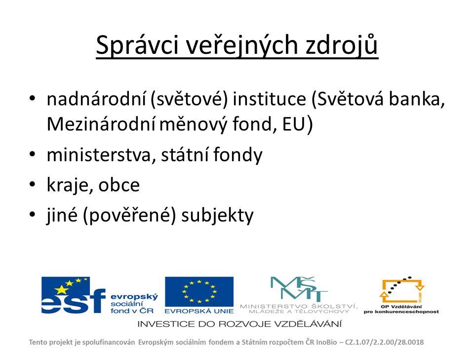 Správci veřejných zdrojů nadnárodní (světové) instituce (Světová banka, Mezinárodní měnový fond, EU ) ministerstva, státní fondy kraje, obce jiné (pověřené) subjekty