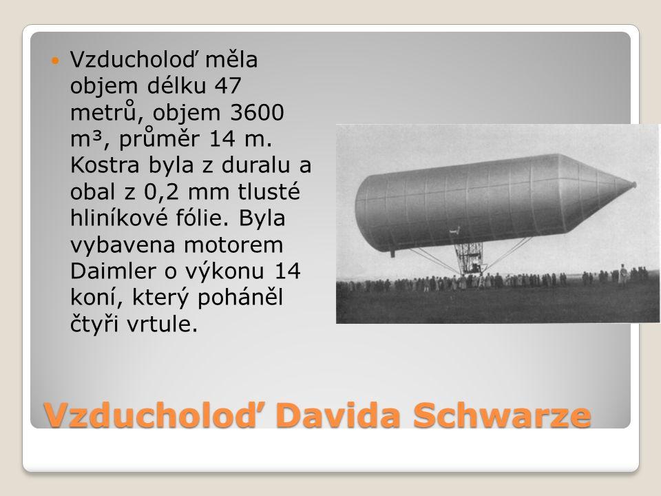 Vzducholoď Davida Schwarze Vzducholoď měla objem délku 47 metrů, objem 3600 m³, průměr 14 m.